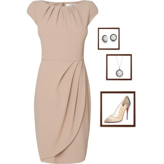 beige by woolycat on Polyvore featuring moda, L.K.Bennett, Christian Louboutin and Blue Nile