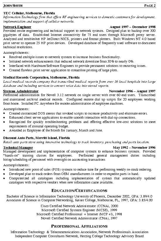 Resume Examples Network Engineer Resume Templates Resume Examples Engineering Resume Sample Resume