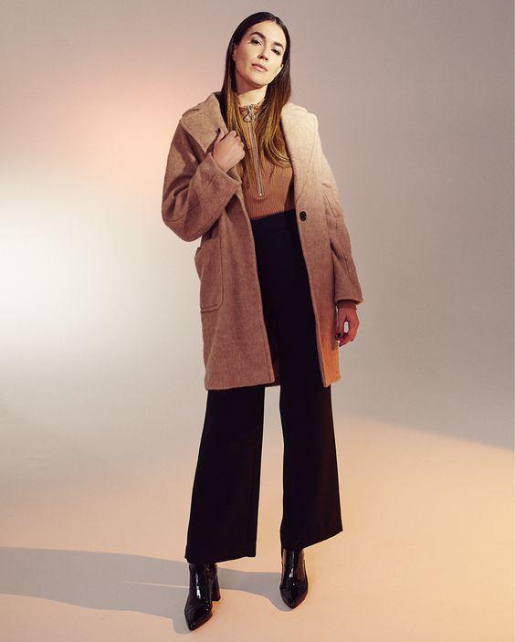 H&M Mock Turtleneck Sweater ($15) H&M Wide-Leg Suit Pants ($39) H&M Wool-Blend Coat ($99)