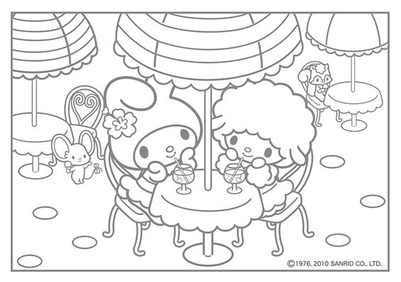 Hello Kitty And My Melody Coloring Pages : My melody coloring pages kawaii nurie