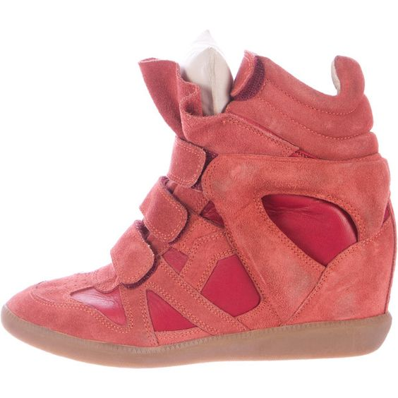 Pre-owned Isabel Marant Beckett Wedge Sneakers ($275) ❤ liked on Polyvore featuring shoes, sneakers, red, wedge trainers, suede wedge sneakers, velcro sneakers, red wedge sneakers and wedged sneakers