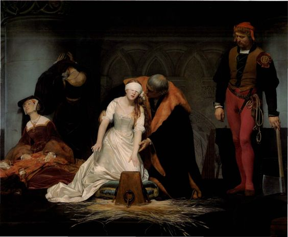 "Execution of Lady Jane Grey, according to Rowland Lea -'Lady Jane was calm, although Elizabeth and Ellen wept... The executioner kneeled down and asked for forgiveness, which she gave most willingly... she said: ""I pray you dispatch me quickly."" She tied a handkerchief over her eyes; then feeling for the block, she said, ""What shall I do? Where is it?"" One of the bystanders guided her. She laid down her head upon the block, and stretched forth her body.'"