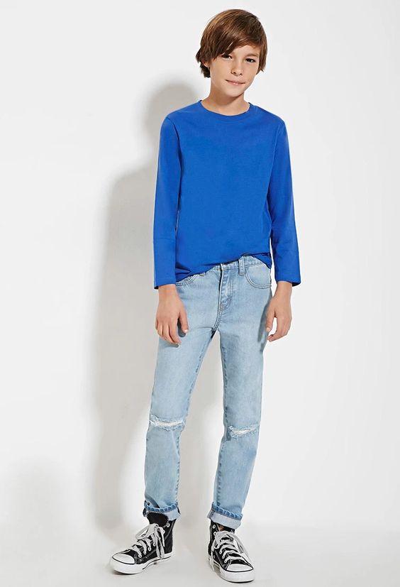 Boys Ripped Jeans (Kids) f21kids | forever21 | kids | Pinterest