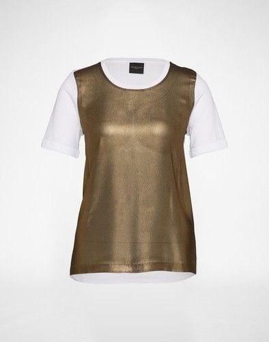 SELECTED FEMME Shirt im Materialmix ´SFSURI´ Damen weiss gold