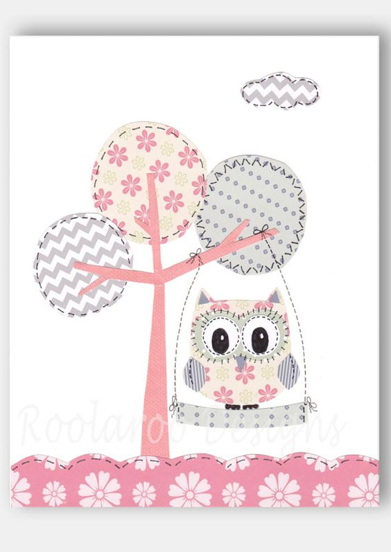 Pink and Gray Nursery Art - Owl Decor - Baby Girl Nursery Decor, Kids Wall Art, Pink, Grey, Tree Swing,  Print, Swing Time - PRINT