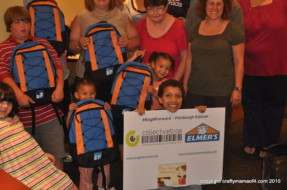 The #BagItForward 2010 Pittsburgh result: so many kids received brand new school supplies and backpacks! Awesome. http://theplussizemommy.com/plussize-family/spirituality/bagging-pittsburgh-bagitforward
