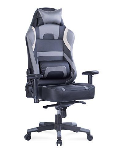 Von Racer Big And Tall Gaming Chair Adjustable Tilt Back Angle And 2d Arms Ergonomic High Back Racing Leather Executive Computer Chair Detachable Headrest L