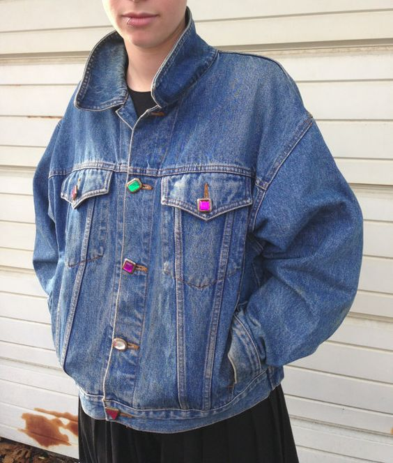 Vintage Denim Jacket - Limited Jeans With Rhinestone Buttons Size ...
