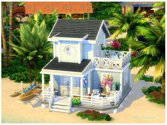 Small Beach House The Sims 4 Catalog Small Beach Houses Sims 4 House Design Sims House Design