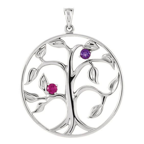 Zilveren Levensboom Hanger met 2 Geboortestenen