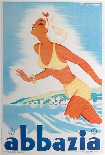 "Opatija used to be called ""Abbazia"", and it is a really historical beach resort. Vintage travel poster by Franz Lenhart, 1940, italia"