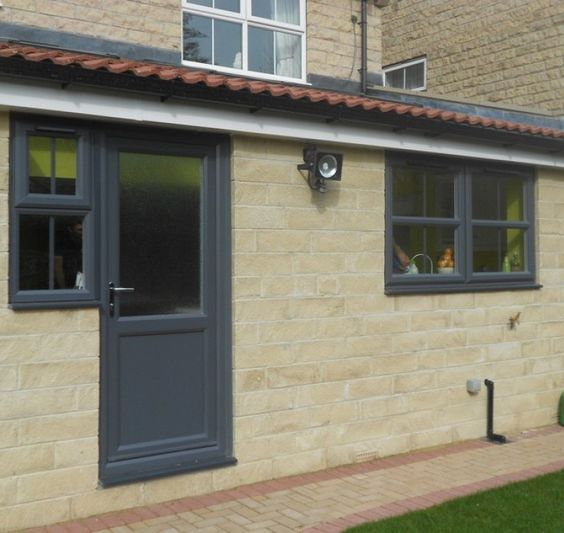 Grey products and window on pinterest for Coloured upvc doors