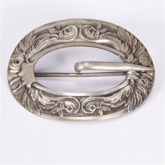 "<b>Unger Brothers Sterling Silver Belt Buckle Pin Brooch.</b> H 1 3/4"" x W 2 1/2"""