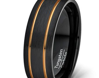 Mens Wedding Band 8mm Black Tungsten Rings Two by TungstenOmega