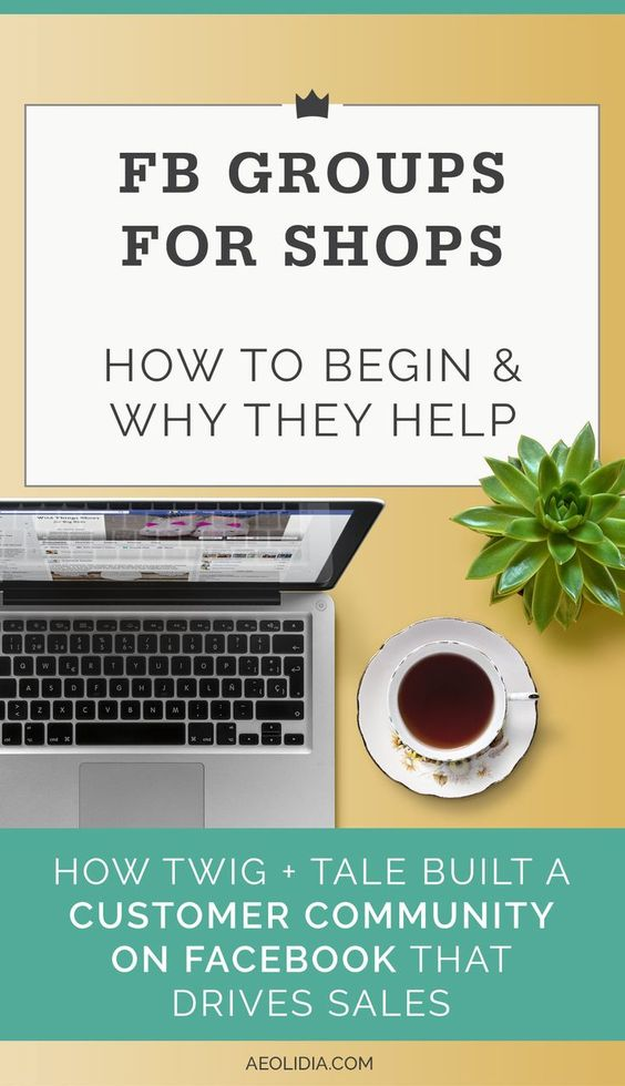 Do you have a Facebook group for customers? I've heard from quite a few shop owners that their Facebook group is a big deal for growing their business. Maybe you're not impressed with your Facebook business page--that doesn't mean that a group wouldn't work well for you! << Aeolidia