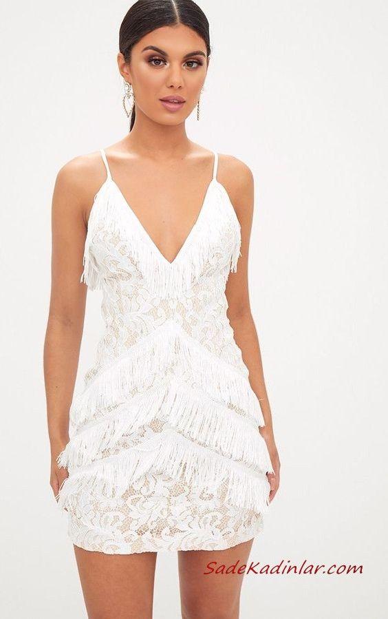 2020 Puskullu Elbise Modelleri Beyaz Kisa Ip Askili V Yakali Dante Detayli Puskullu The Dress Bodycon Elbise Elbise Modelleri