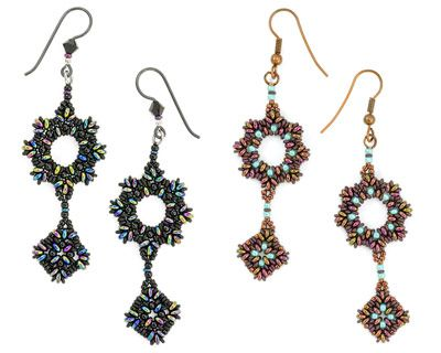 Masquerade Bracelet and Earrings Seed Beads Pattern: