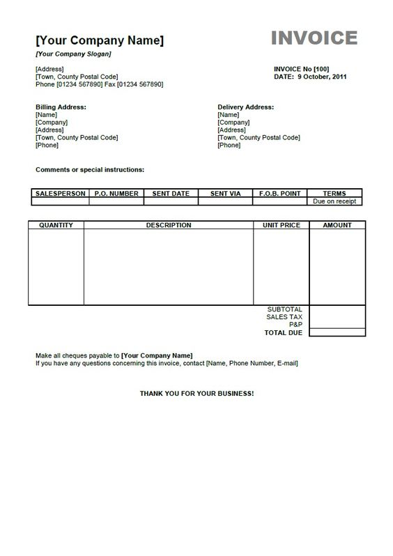 Free Sample Invoice Form invoice template as pdf download - free online invoice forms