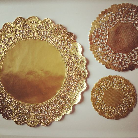 SPRING SALE 50 gold paper doilies 10 inch ornate by SimplyNesting, $15.30