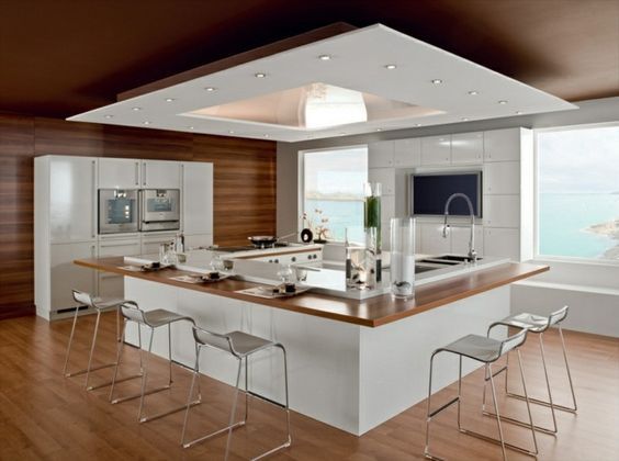 Dites oui au bar côté cuisine ! Kitchens, Kitchen design and - plan de cuisine moderne avec ilot central