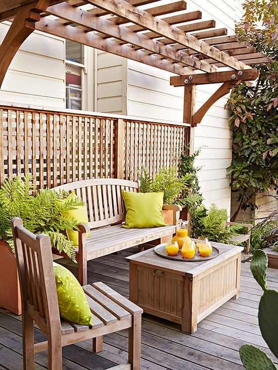 13 ways to transform your deck patio decks front for Deck trellis
