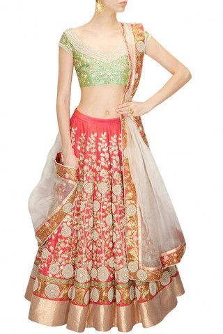 Coral color Bridal Lehenga Choli – Panache Haute Couture
