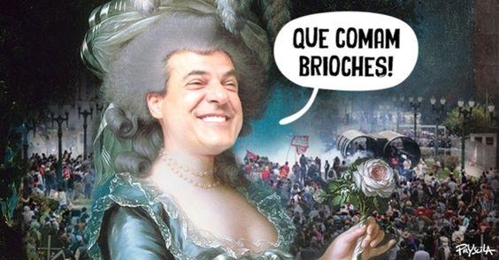 """A cartunista Pryscila compara o governador do Paraná, Beto Richa (PSDB), com Maria Antonieta, rainha da França (1755-1793) e autora da frase """"Se o povo não tem pão, que coma brioches!"""" durante a Revolta da Farinha. Beto Richa ordenou que os policiais devolvam o dinheiro do """"vale-alimentação"""" dos dias em que foram convocados para atuar nos protestos contra os professores"""