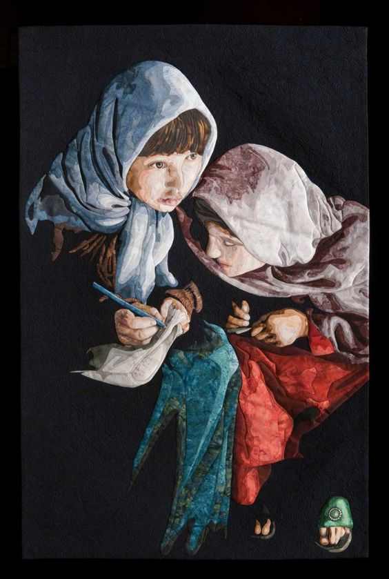 """""""Eager to Learn - Afghanistan"""" by Gillian Shearer of Tweed Heads West, New South Wales, Australia, is winner of the $7,500 World of Beauty award at the 2015 International Quilt Festival Houston."""