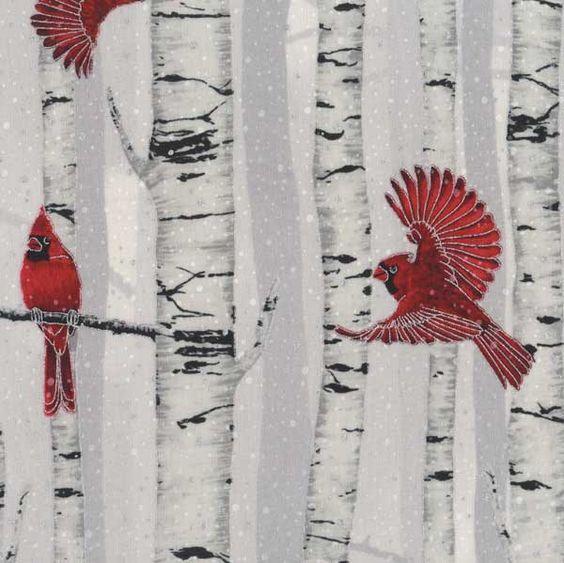 Hoffman Woodsy Winter Cardinals In Birch Trees Fog Silver