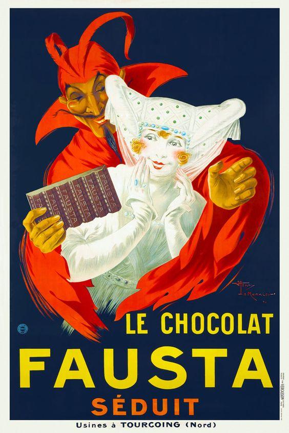 Vintage Art Deco French Chocolate Poster 1920s Seductive Devil Faust Print Retro