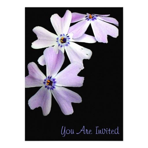 3 Purple Flowers Custom Invitation