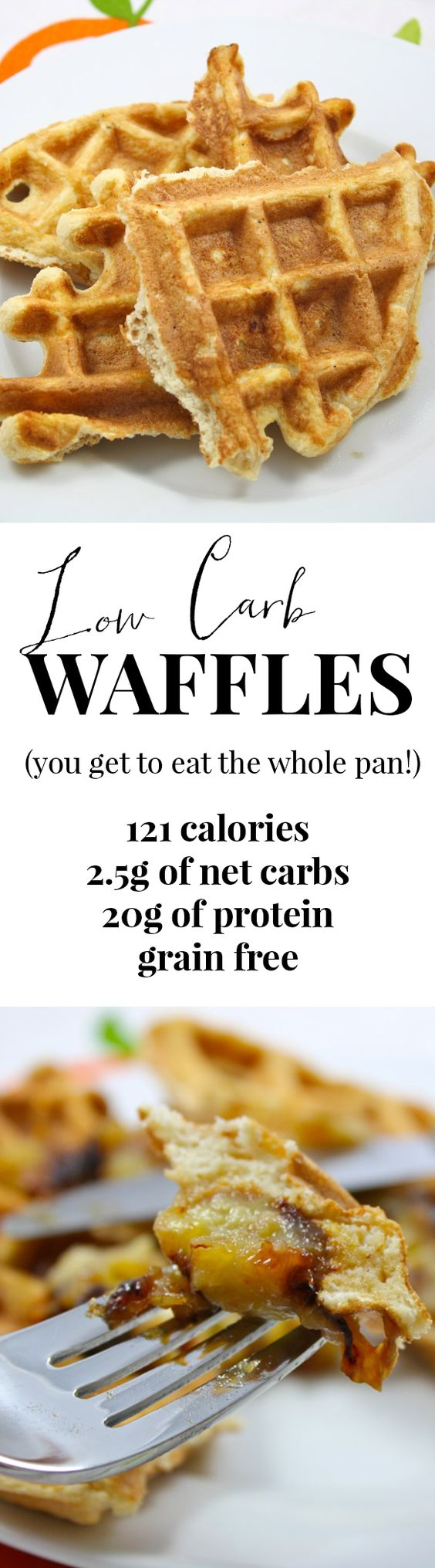120 calories for the whole tray!! That's FOUR waffles. Not to mention they pack 20g of protein and are low carb, grain free, and AMAZINGLY delicious. I'm hooked!