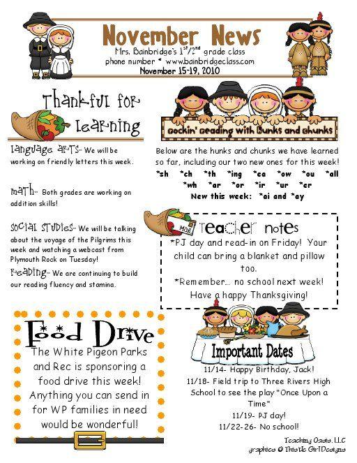 November Pdf Google Drive Classroom Newsletter Template Preschool Newsletter Templates Kindergarten Newsletter