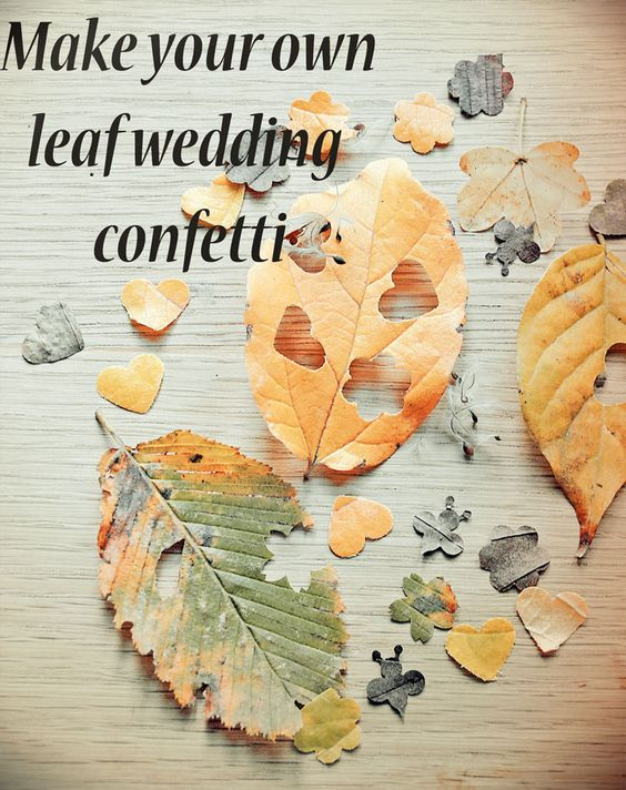 Create your own biodegradable leaf confetti - http://www.wildflower-favours.co.uk/make-your-own-leaf-wedding-confetti/