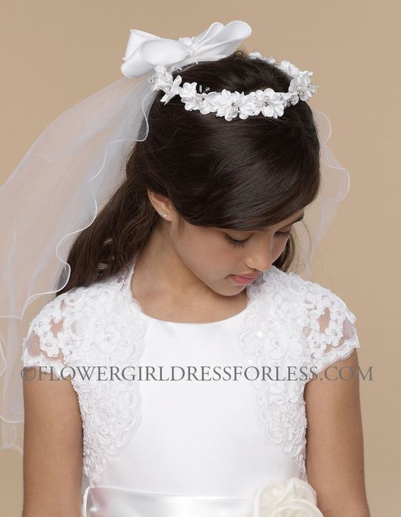 Us Angels Headwreath Style V82 - WHITE  Floral Headwreath with Removable Veil $58.99