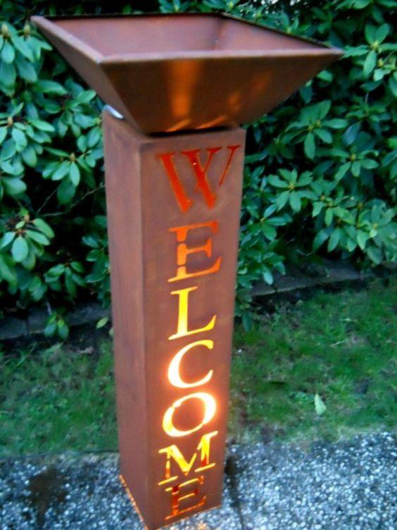 ✔ welcome säule h.100 pflanzsäule gartendeko edelrost metallsäule, Gartenarbeit ideen
