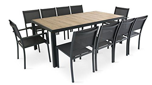Oviala Salon De Jardin 8 Places Aluminium Et Ceramique Table De Jardin Table Et Chaises De Jardin Table Et Chaises