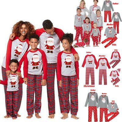 XMAS Family Matching Christmas Pajamas Set Womens MensKids Sleepwear Nightwear