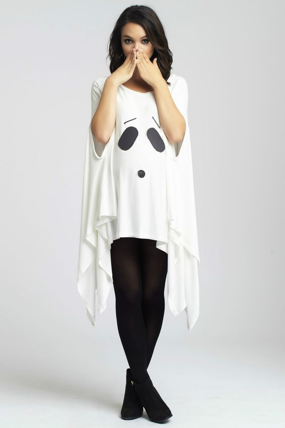 Simple DIY Ghost Maternity Costume using the Asymmetric Maternity Top: