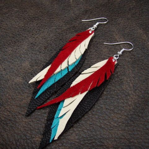 Red, Turquoise and Cream Leather Feather Earrings on Chocolate Brown