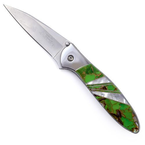 Kershaw Leek Pocket Knife With Lime Green Turquoise Blend Handle