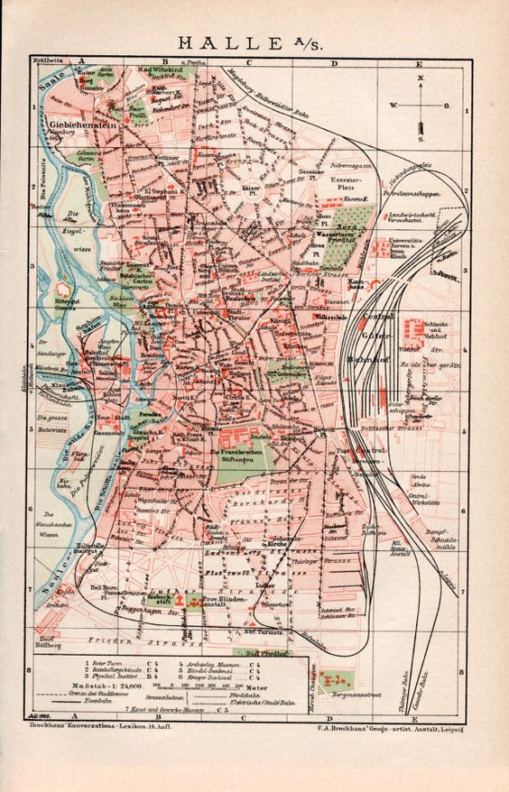 1898 Halle City Map Halle an der Saale Southern Germany Saxony – Southern Germany Map