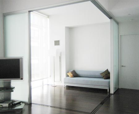 The sliding door company silver finish room divider solo for Sliding glass panels room dividers