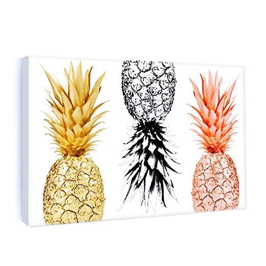 Framed Canvas Painting Pineapples Prints Home Wall Art Decor Fruit Picture Poster Office Ki Pineapple Wall Art Pineapple Wall Decor Frames For Canvas Paintings