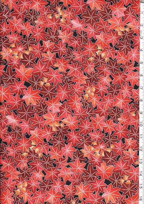 Asian - Hanayume Compact Red Maple Leaves - Silver Metallic - Last 1 1/2 yards