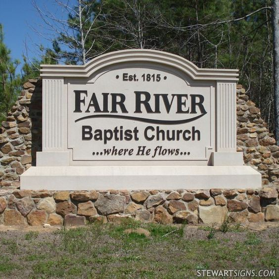 Fair River Baptist Church (photo #1980)  Church Signs. Red Legion Logo. Shake Logo. Deco Lettering. Dog Wall Murals. Ribbin Banners. Season Greeting Lettering. Stay Tuned Murals. Building Floor Signs