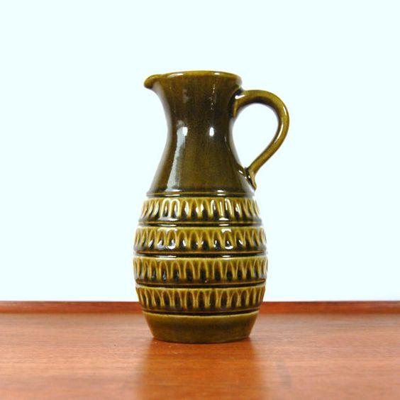 Jasba Keramik West Germany Green Ceramic Pitcher by MetalAndTweed on Etsy.