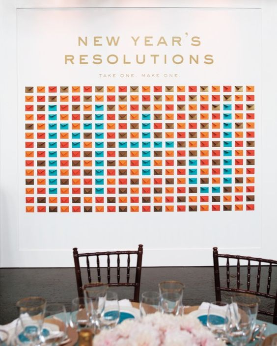 "Allow guests to choose a playful prediction (""I resolve to visit Graceland"") from a wall of envelopes, then have them write resolutions for the…:"