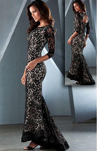 Black Multi (BKMU) Long Lace Dress on Chiq http://www.chiq.com ...