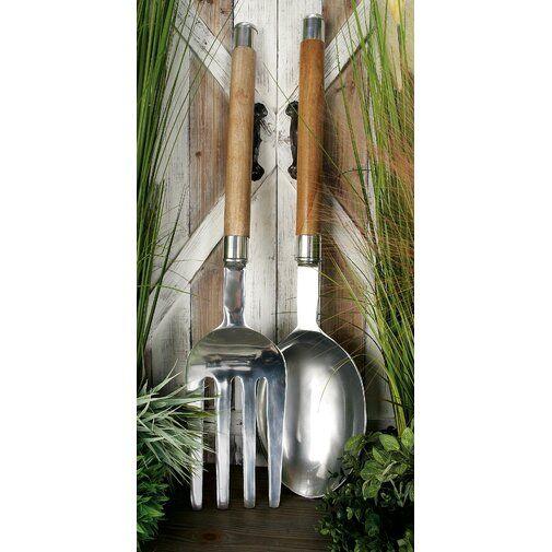 Cole Grey 2 Piece Kitchen Utensil Wall Decor Set Reviews Wayfair Wood Utensils Compass Wall Decor Porch Wall Decor